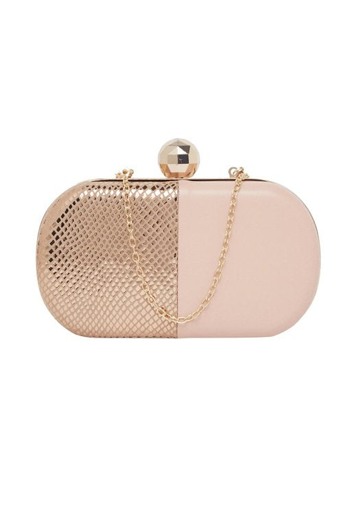 Pure Leather Clutch (Pink & Gold)