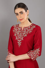 Load image into Gallery viewer, Red Embroidered Chanderi Silk Kurta Set