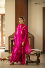Load image into Gallery viewer, Pink Adari kurta, palazzo &  dupatta