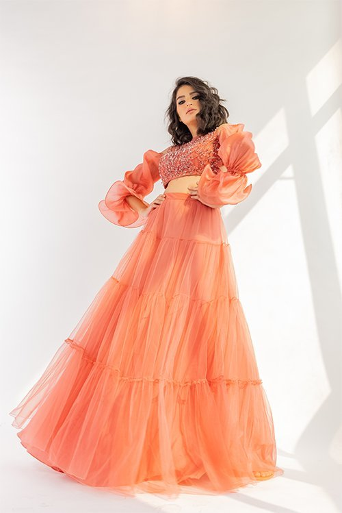 French rose lehenga with full flare