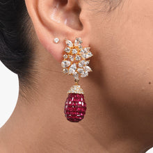 Load image into Gallery viewer, ASYMMETRICAL MARQUISE DIAMOND CLUSTER WITH INVISBLE SETTING RUBY DROP IN 18K GOLD POLISH