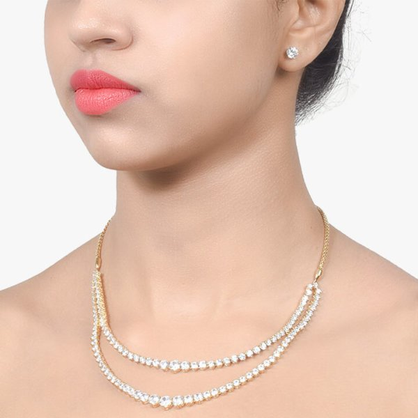 2 ROW SOLITAIRE NECKLACE WITH EARRINGS - 18K GOLD POLISH