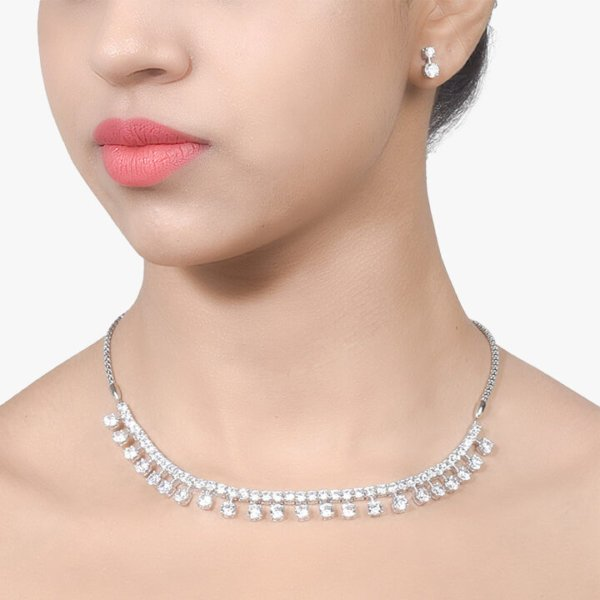 INDIAN STYLE CLASSIC SOLITAIRE NECKLACE WITH EARRINGS