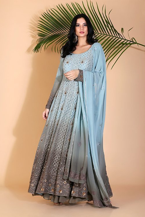 Embellished Lakhnavi Anarkali with sharara and dupatta