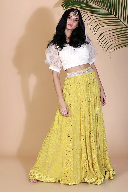 Crop top with puffed sleeves and chikankari and nalki work skirt