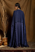 Load image into Gallery viewer, Navy blue high-low cape layered over bustier and pants