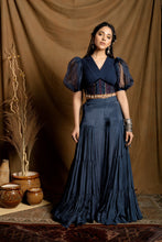 Load image into Gallery viewer, Navy Blue Sharara Pant set
