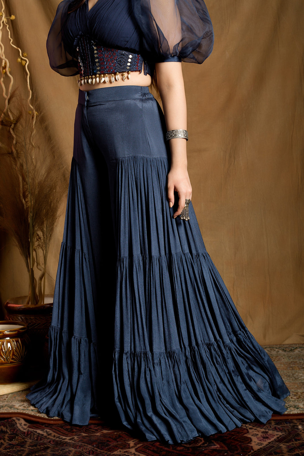 Navy Blue Sharara Pant set