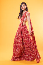 Load image into Gallery viewer, Maroon Printed Saree