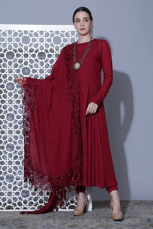 Circular flare with thread work, dupatta with embroidered boarder on organza and pyjami