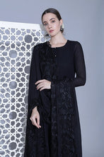 Load image into Gallery viewer, An A line black suit with high slits and tonal thread work, dupatta and pallazo with embroidered borders on organza.