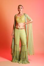 Load image into Gallery viewer, Yellow & Sky blue Sharara Pant Set