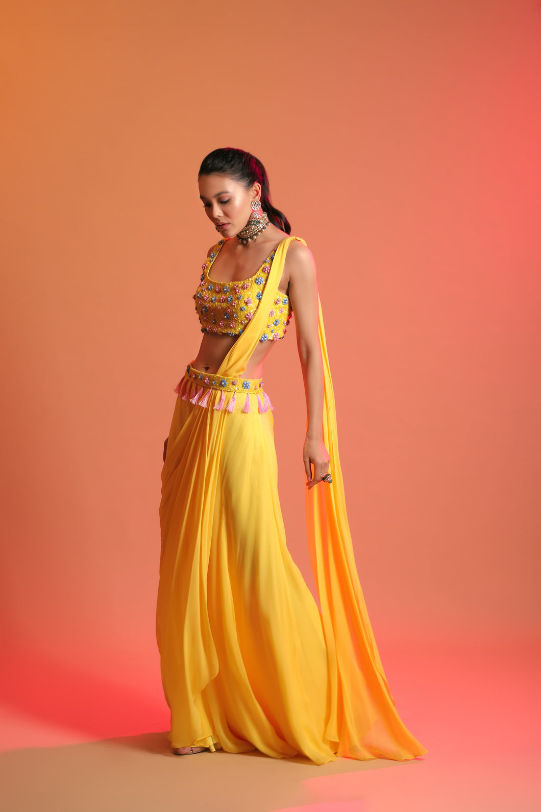Yellow Draped Saree