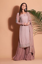 Load image into Gallery viewer, Embellished Lakhnavi Anarkali with sharara and dupatta