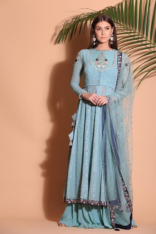 Pearl work with mukesh work Suit with plaza with makes dupatta