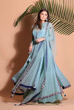 Load image into Gallery viewer, Pearl work with mukesh work Suit with plaza with makes dupatta