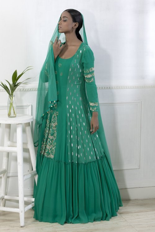 Emerald green embroidered anarkali gown