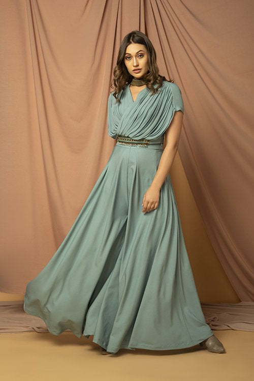 Powder Blue Overlapped Draped Top with Pants