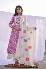 Load image into Gallery viewer, Purple Printed Cotton Kurta ,Pant  Patch Work Dupatta Set of 3