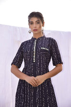 Load image into Gallery viewer, Black Bandhani Dress With Silver Gota  Embroidery