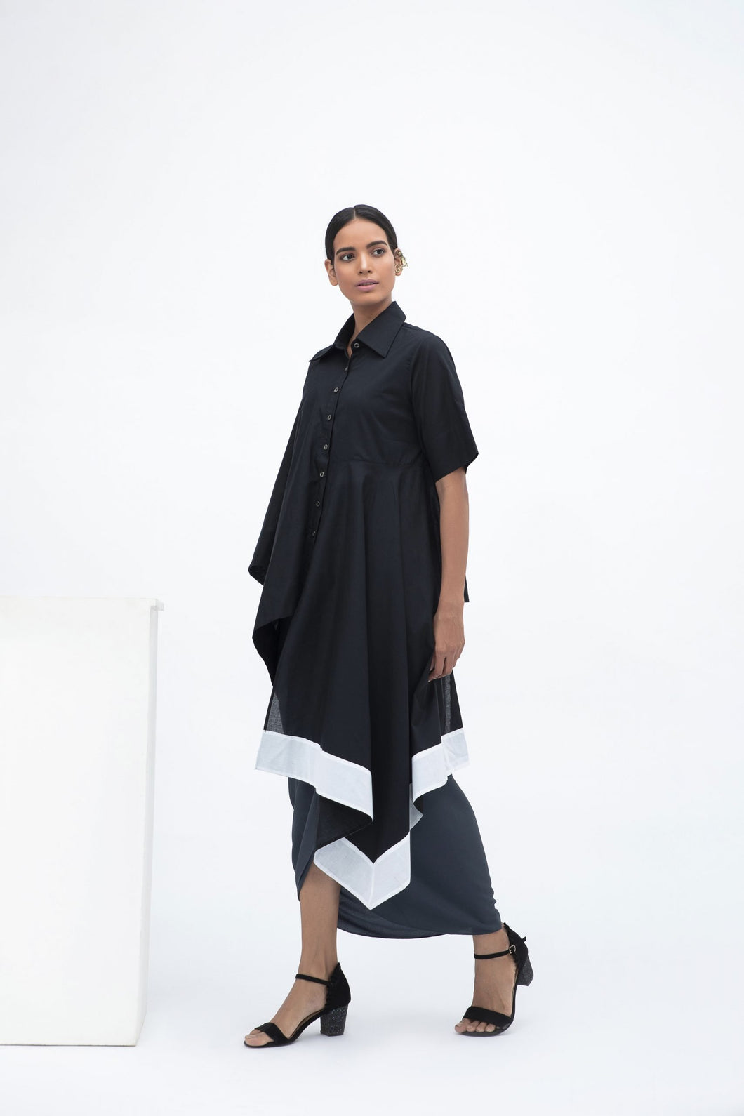 PANELED DRAPE TUNIC