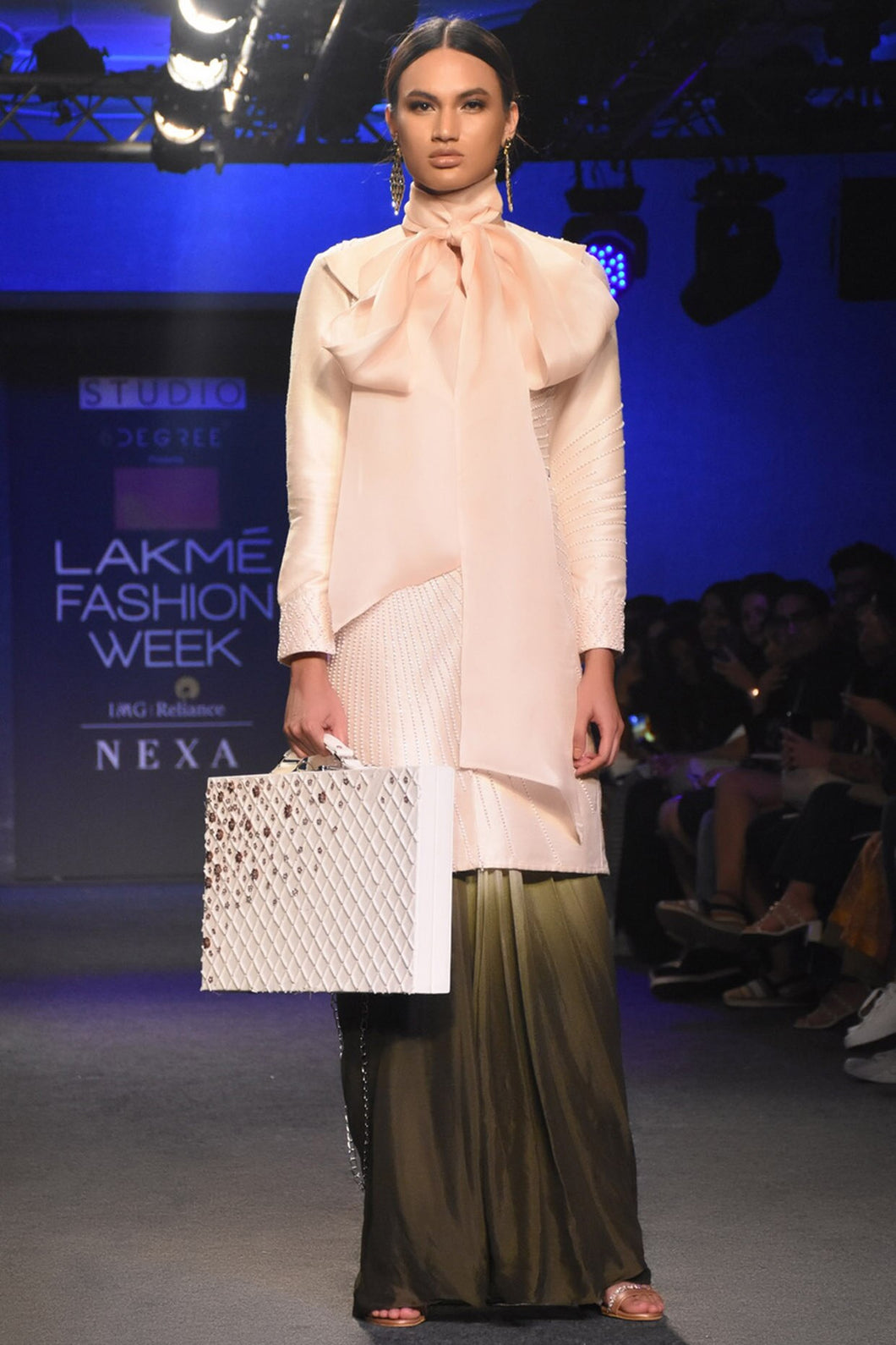 Cream Jacket with dhoti pants