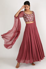 Load image into Gallery viewer, Brown Embroidered Lehenga Set