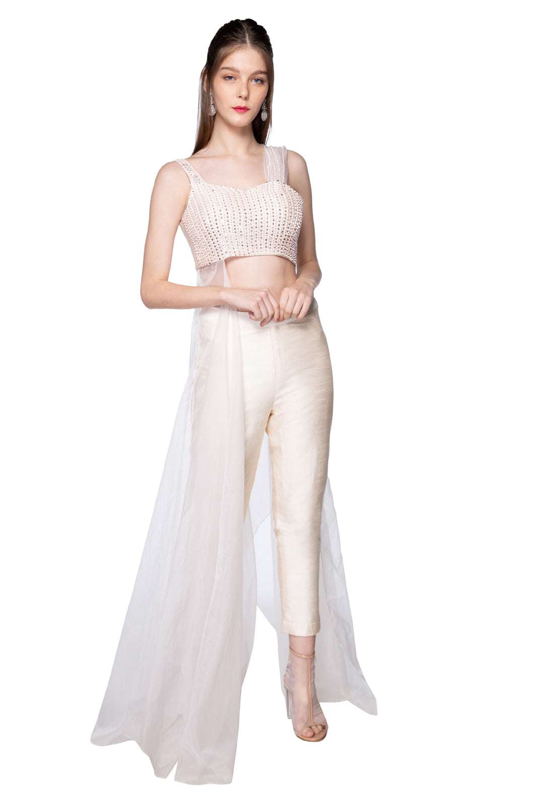 Cream One Side Drape Pant
