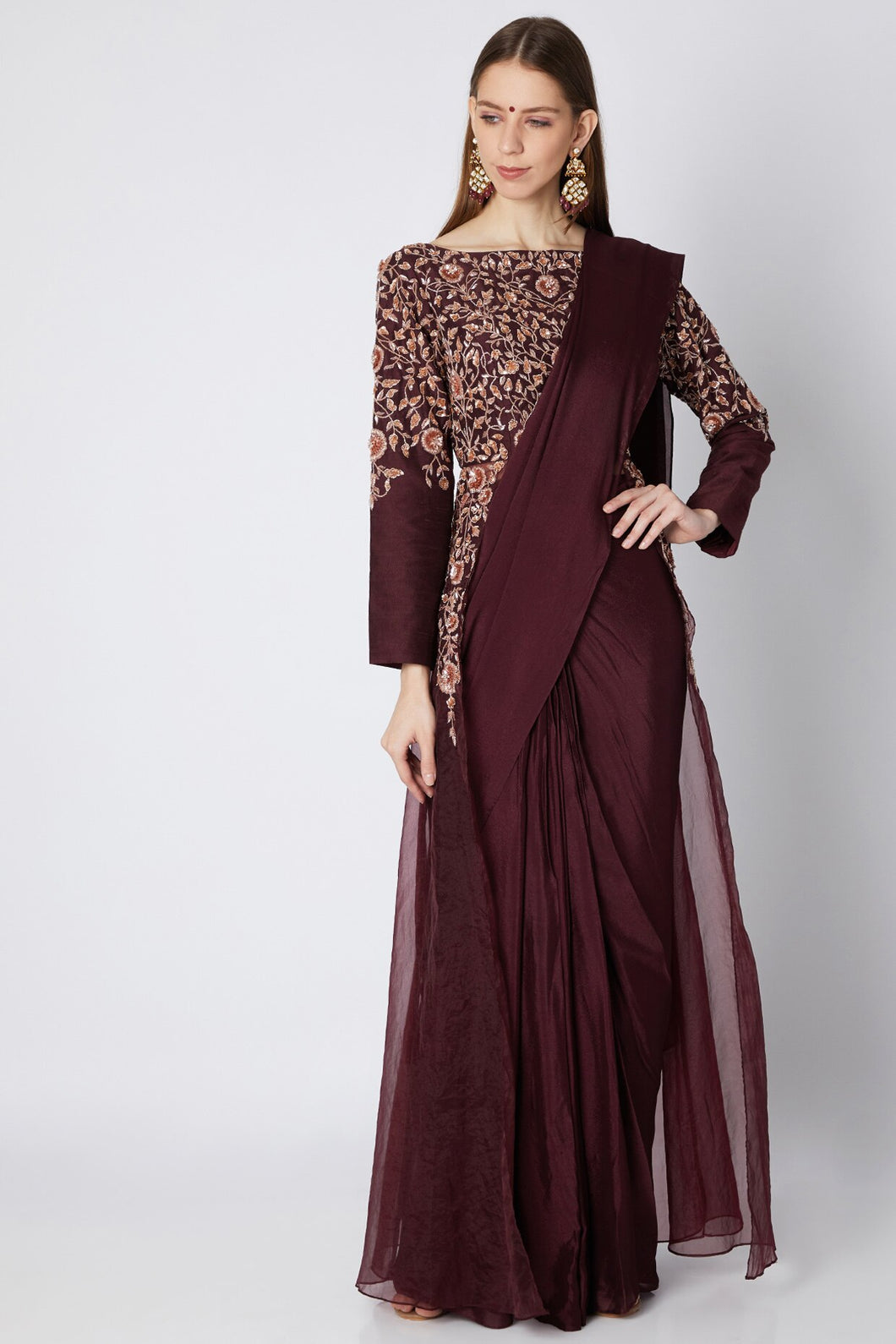 Burgundy Jacket Saree