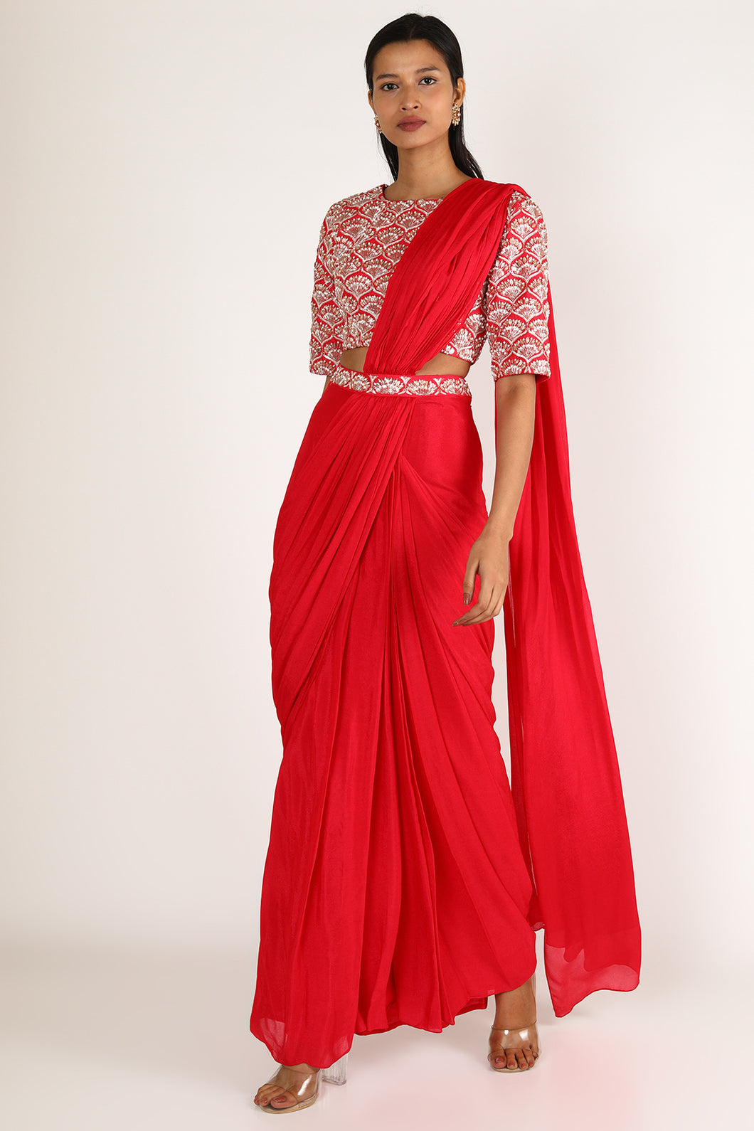Red Saree Set
