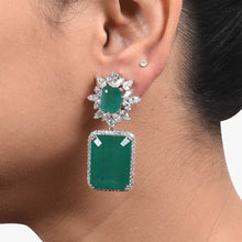 Load image into Gallery viewer, EMERALD AND DIAMOND CLUSTER TOP WITH BIG EMERALD SQUARE DROP IN 18K GOLD POLISH