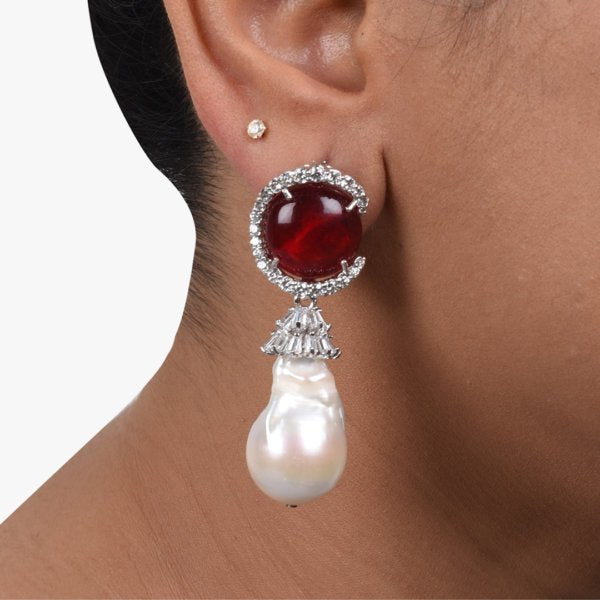 CABOCHON RUBY WITH BAROQUE PEARL DROP AND DIAMONDS