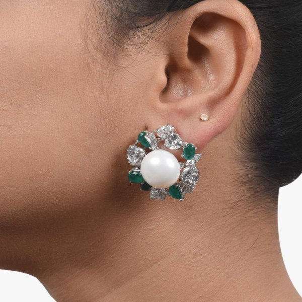 BIG CULTURED PEARL STUD WITH EMERALD AND DIAMOND HALO