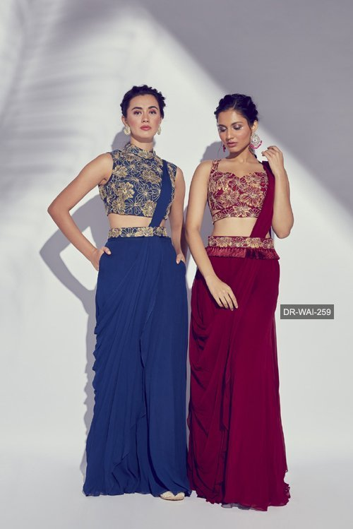 DR-WAI-259 - Maroon Hibiscus Embroidered Lycra Prestiched Saree With Tassel Embroidered Belt