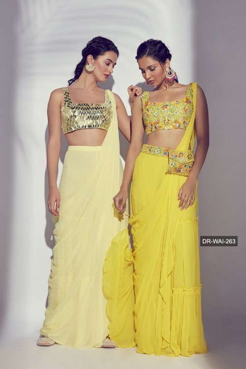 DR-WAI-263 - Yellow 3D Embroidered Multicolour Blouse & Saree With Embroidered Bag Belt