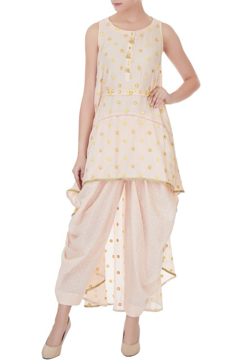 Beige high-low asymmetrical tunic with salwar pants