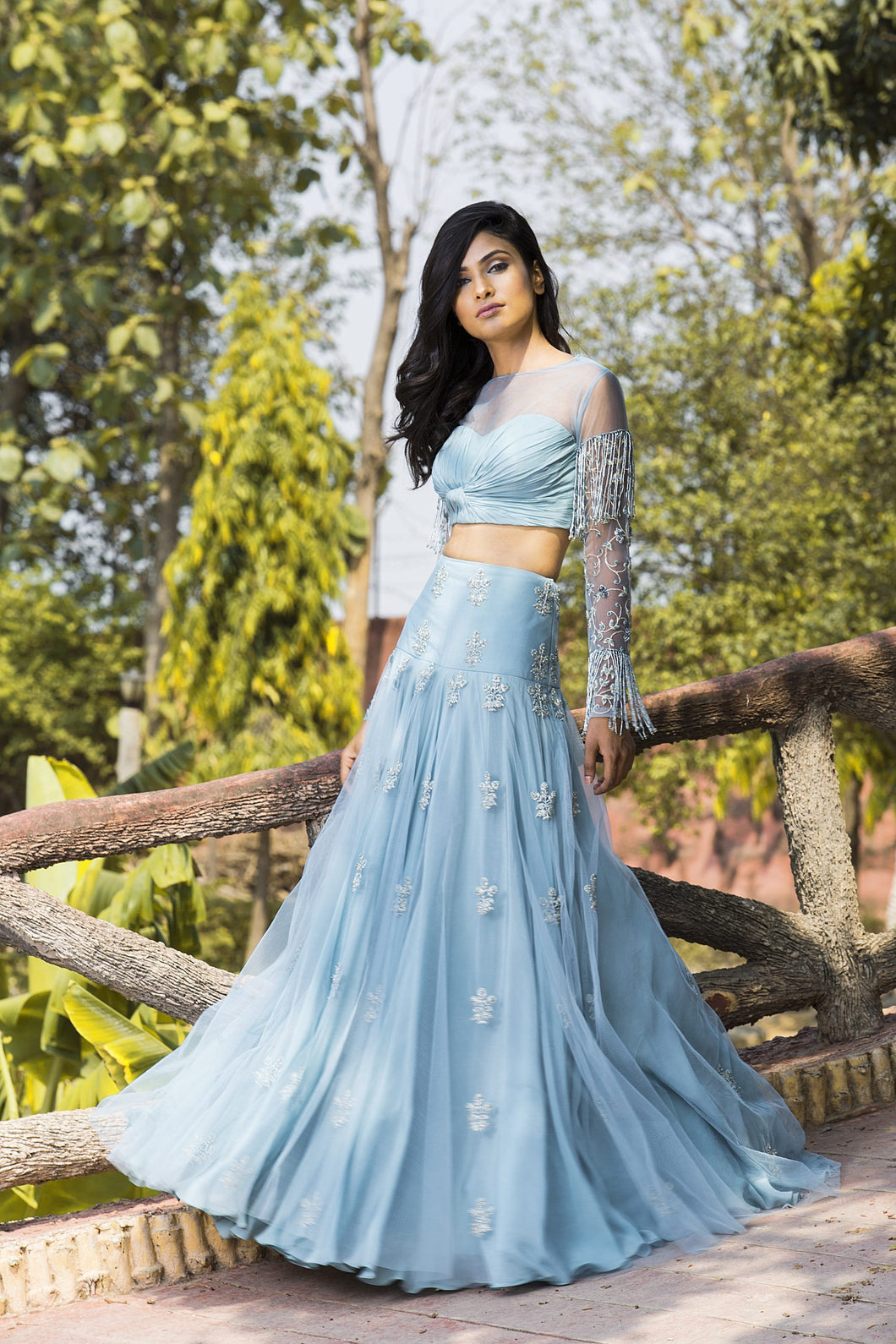 Ice Blue knotted  hand embroidered blouse and  lehenga set