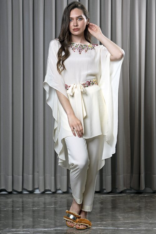 PEARL WHITE BELTED KAFTAN WITH PLEATED PANTS