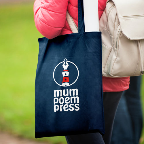Mum Poem Press logo on a tote bag