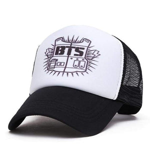 Bts Black & White Baseball Cap - Hats