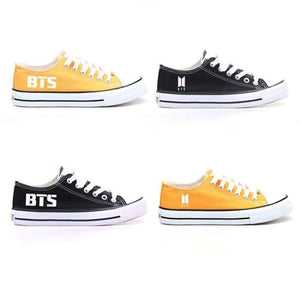 BTS Logos Low-Top Canvas Shoes (Black & Yellow) - Shoes