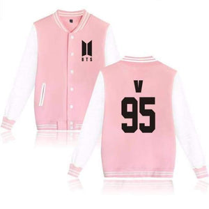 Bts New Logo Classic Jacketpink - V / S - Hoodies & Jackets