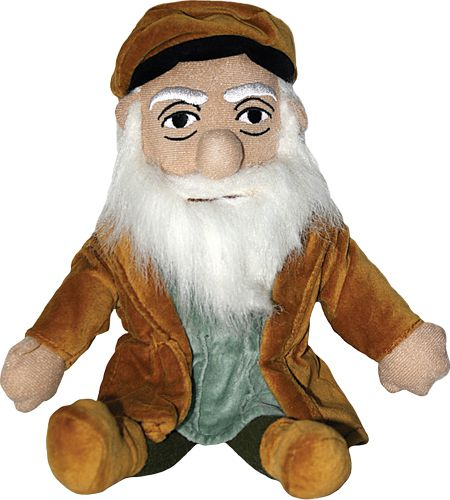 Leonardo Da Vinci Little Thinker Plush - The Unemployed Philosophers Guild - Plush Doll for Kids and Adults