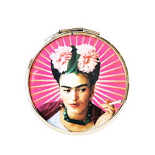 Load image into Gallery viewer, Doubled Pocket Mirror -Mexican Artist Pink Frida By Wajiro Dream -Mexipop Art Design