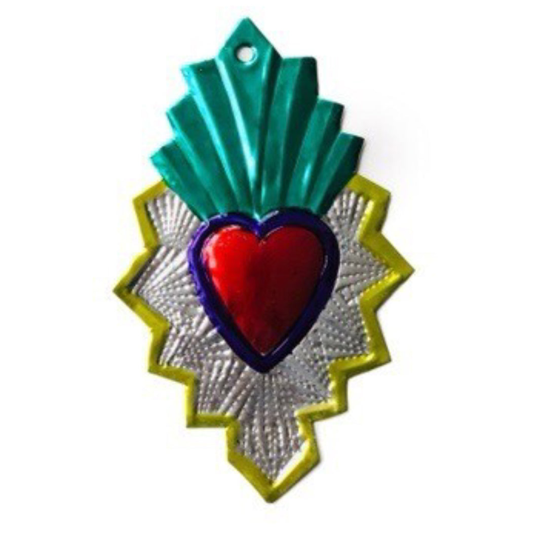 Mexican Ex-Voto Heart Embossed Metal 14cm