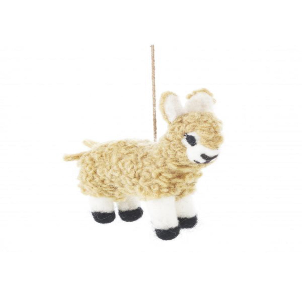 Audrey Alpaca Novelty Hanging Decoration - Fair Trade  Eco Friendly & - Felt Animal - Needle Felted Animal - Christmas