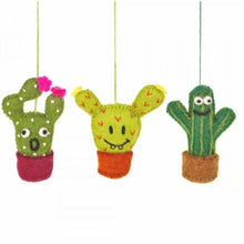 Load image into Gallery viewer, Set of 3 Fair Trade & Eco Friendly Crazy Cacti Novelty Hanging Decoration Needle Felted - Christmas