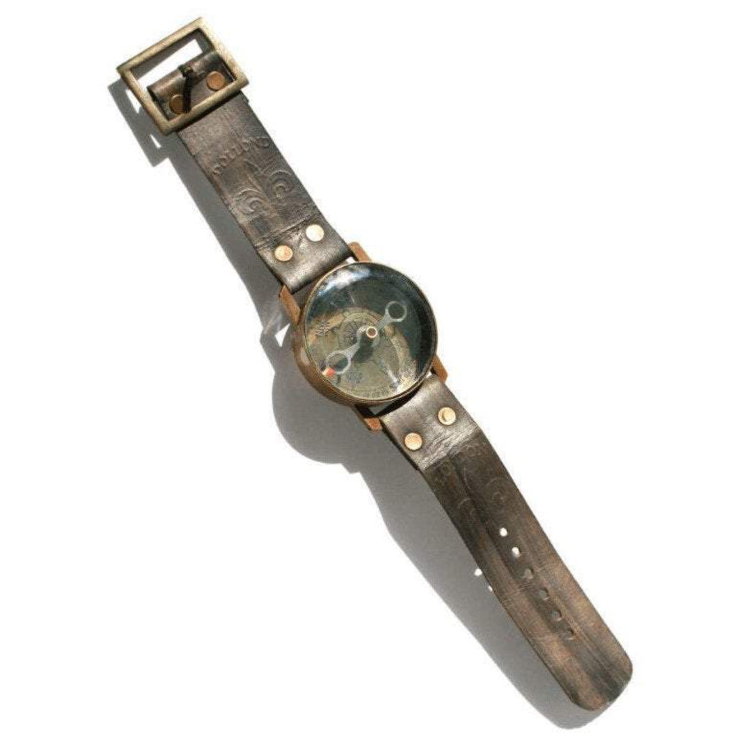 Compass on Watch Strap Royal Navy - Pure Leather Fair Trade