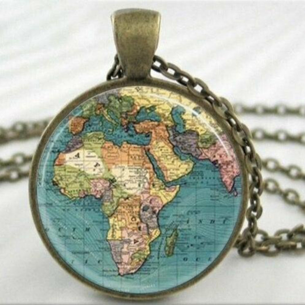 Travel World Map Handmade Necklace Antique Bronze