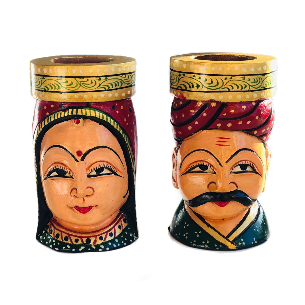 Traditional Jaipur Couple Wooden Painted Pen Holder - Handmade